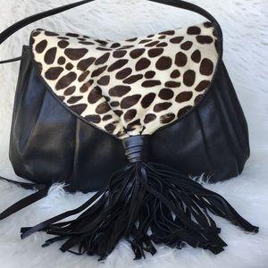 Vintage Susan Gail Leather / Giraffe Fur Crossbody